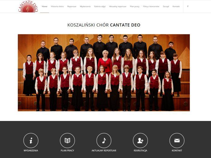 zaprojektowana strona dla chóru cantatedeo